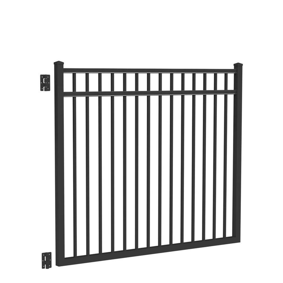 Freedom (Common: 5-ft x 6-ft; Actual: 5.04-ft x 5.875-ft) New Haven Black Aluminum Decorative Fence Gate