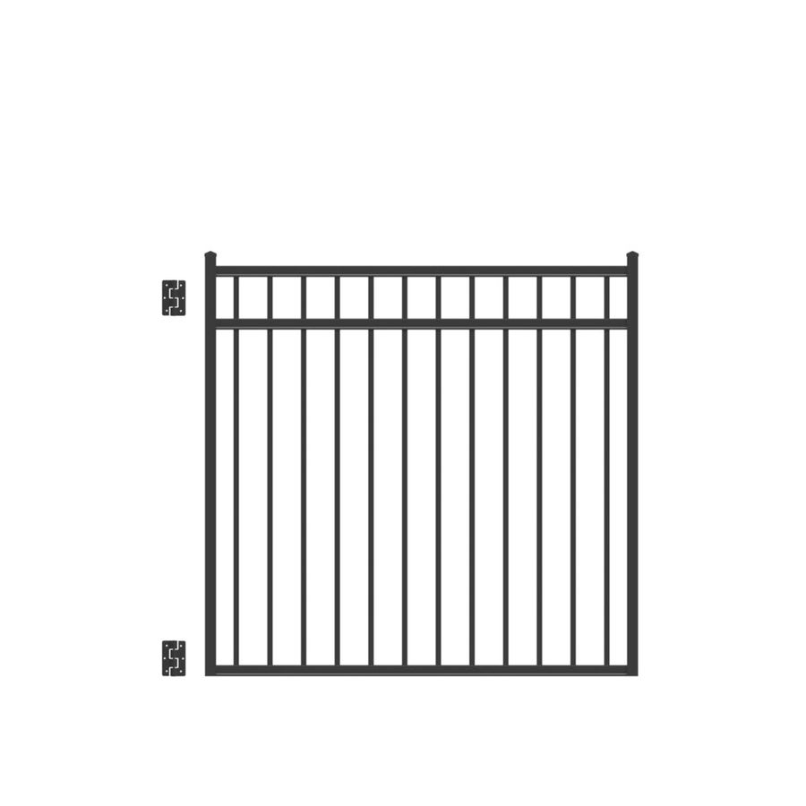 Freedom (Common: 4.5-ft x 4-ft; Actual: 4.625-ft x 3.875-ft) New Haven Black Aluminum Decorative Fence Gate