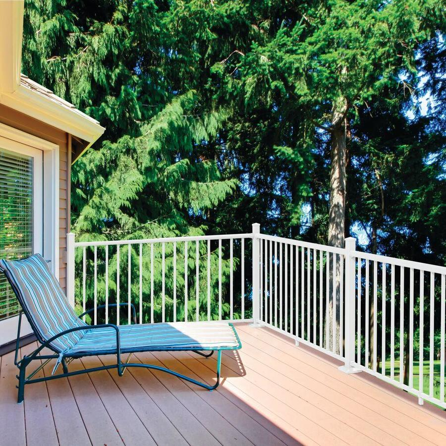 Freedom (Common: 6-ft; Actual: 2.95-in x 2.25-in x 5.77-ft) Winchester White Aluminum Deck Universal Rail