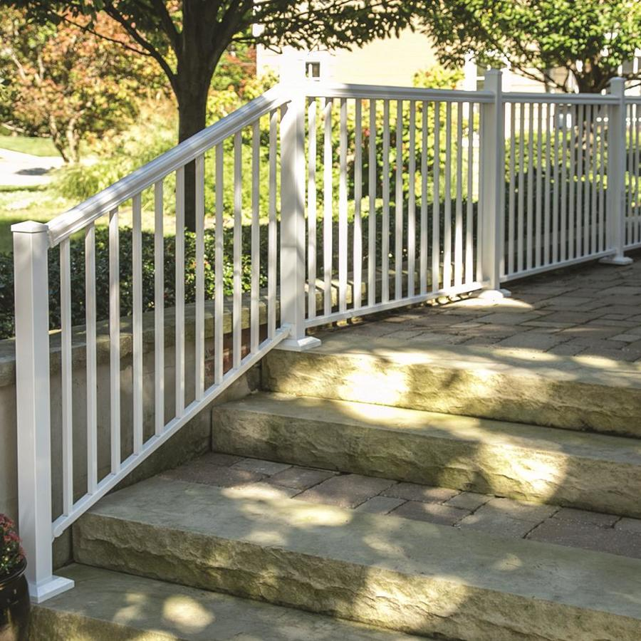 Freedom (Common: 6-ft; Actual: 2.975-in x 2.25-in x 5.77-ft) Cambridge White Aluminum Deck Universal Rail