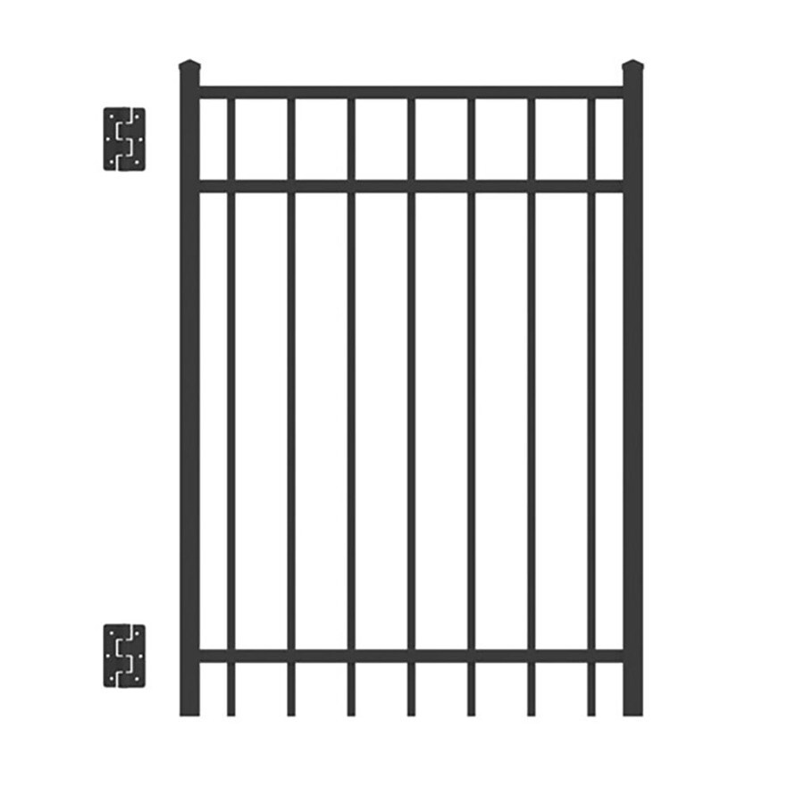 Freedom (Common: 4-ft x 3-ft; Actual: 4.04-ft x 2.875 Feet) New Haven Black Metal Aluminum (Not Wood) Decorative Metal Fence Gate