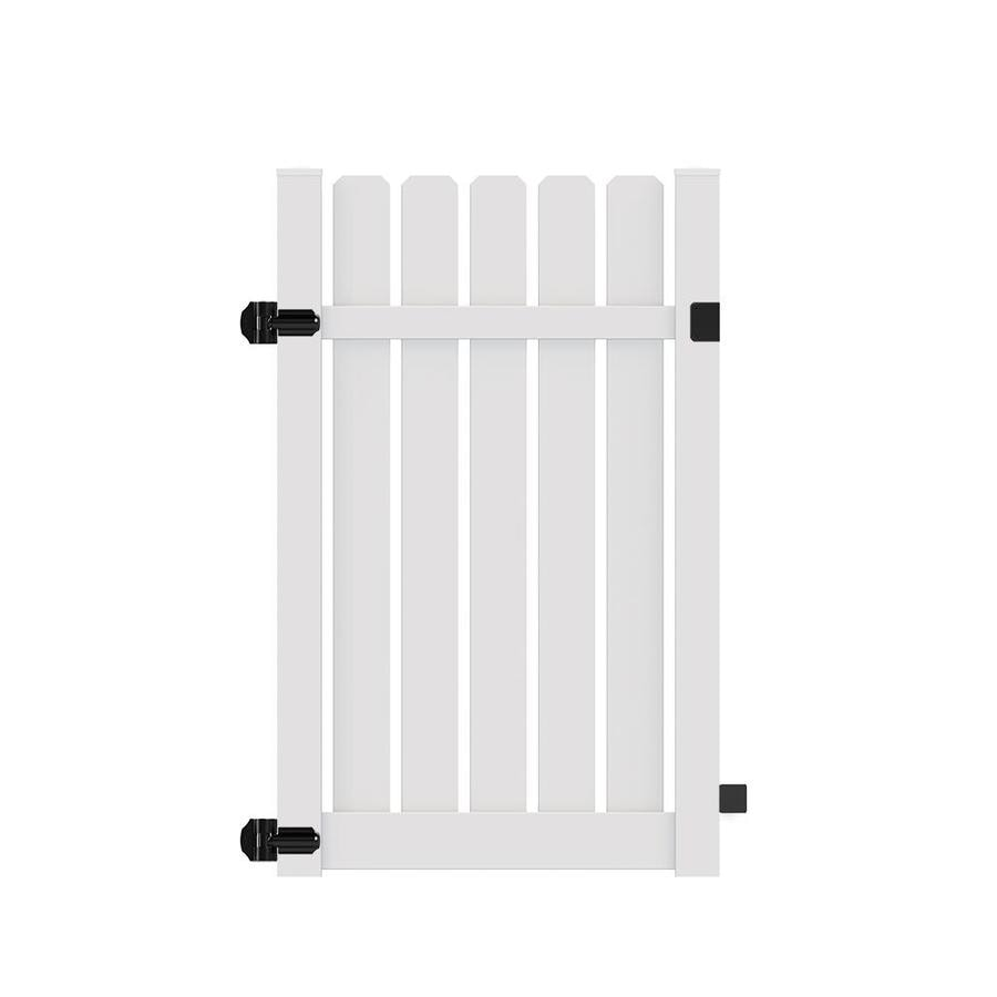 Freedom (Common: 6-ft x 4-ft; Actual: 6.125-ft x 3.83-ft) Waverly White Vinyl Semi-Privacy Fence Gate