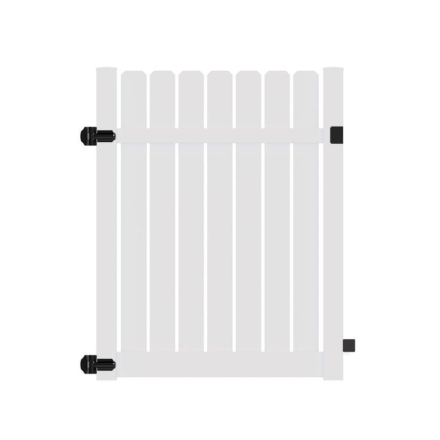 Freedom (Common: 6-ft x 5-ft; Actual: 6.125-ft x 4.83-ft) Waverly White Vinyl Semi-privacy Gate