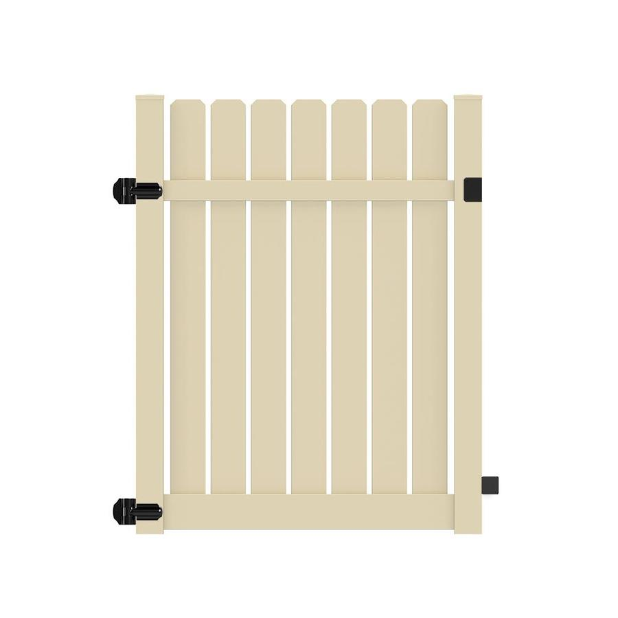 Freedom (Common: 6-ft x 5-ft; Actual: 6.125-ft x 4.83-ft) Waverly Sand Vinyl Semi-Privacy Fence Gate