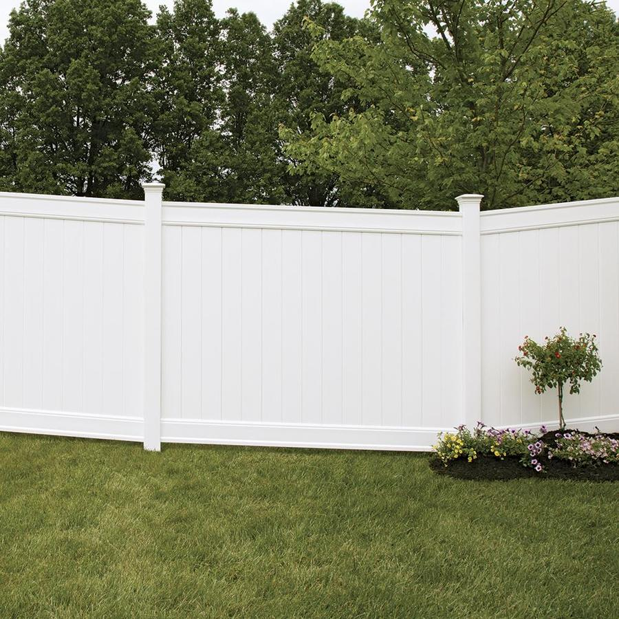 Freedom Ready-To-Assemble Emblem White Vinyl Privacy Fence Panel (Common: 6-ft x 8-ft; Actual: 6-ft x 7.82-ft)
