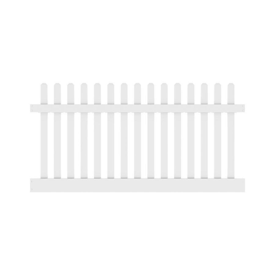 Freedom (Common: 4-ft x 8-ft; Actual: 4-ft x 7.56-ft) Ready To Assemble Lennox White Vinyl Fence Panel