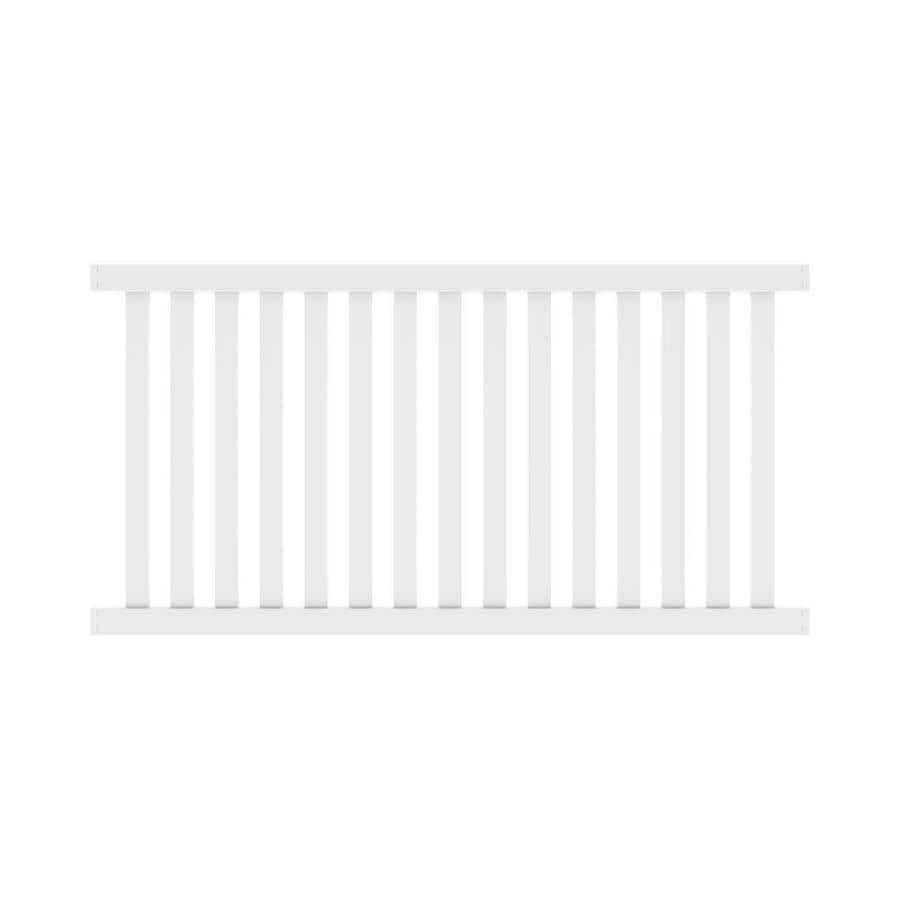 Freedom Ready-To-Assemble Terex White Vinyl Fence Panel (Common: 4-ft x 8-ft; Actual: 4.04-ft x 7.56-ft)