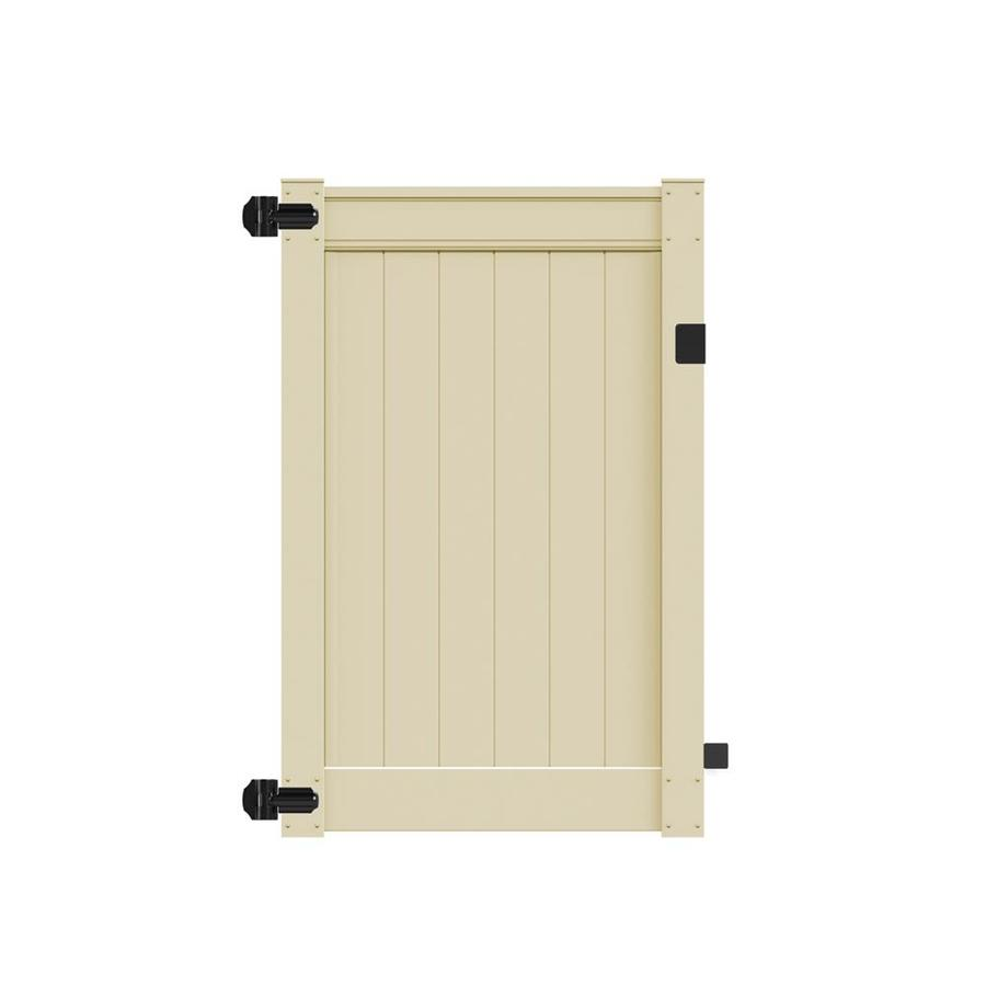 Freedom (Common: 6-ft x 4-ft; Actual: 6-ft x 3.83-ft) Emblem Sand Vinyl Privacy Gate