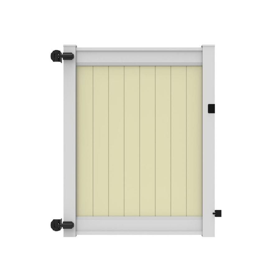 Freedom (Common: 6-ft x 5-ft; Actual: 6-ft x 4.83-ft) Emblem White Rail/Sand Infill Vinyl Privacy Gate