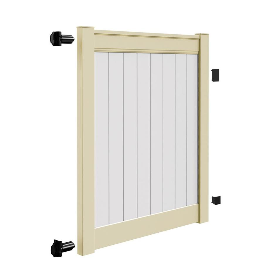 Freedom (Common: 6-ft x 5-ft; Actual: 6-ft x 4.83-ft) Emblem Sand Infill/White Rail Vinyl Privacy Gate
