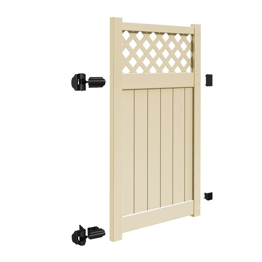 Freedom (Common: 6-ft x 4-ft; Actual: 5.95-ft x 3.83-ft) Freeport Sand Vinyl Semi-Privacy Fence Gate