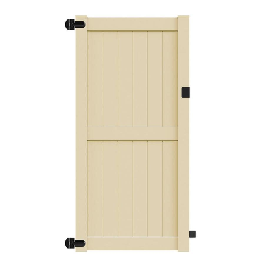 Freedom Bolton Sand Vinyl Privacy Vinyl Fence Gate (Common: 8-ft x 4-ft; Actual: 7.84-ft x 3.84-ft)