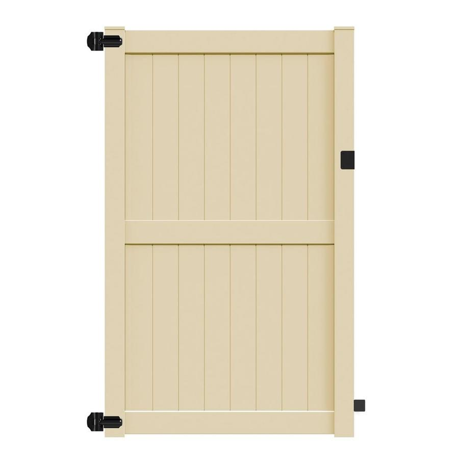 Freedom (Common: 8-ft x 5-ft; Actual: 7.84-ft x 4.84-ft) Bolton Sand Vinyl Privacy Gate