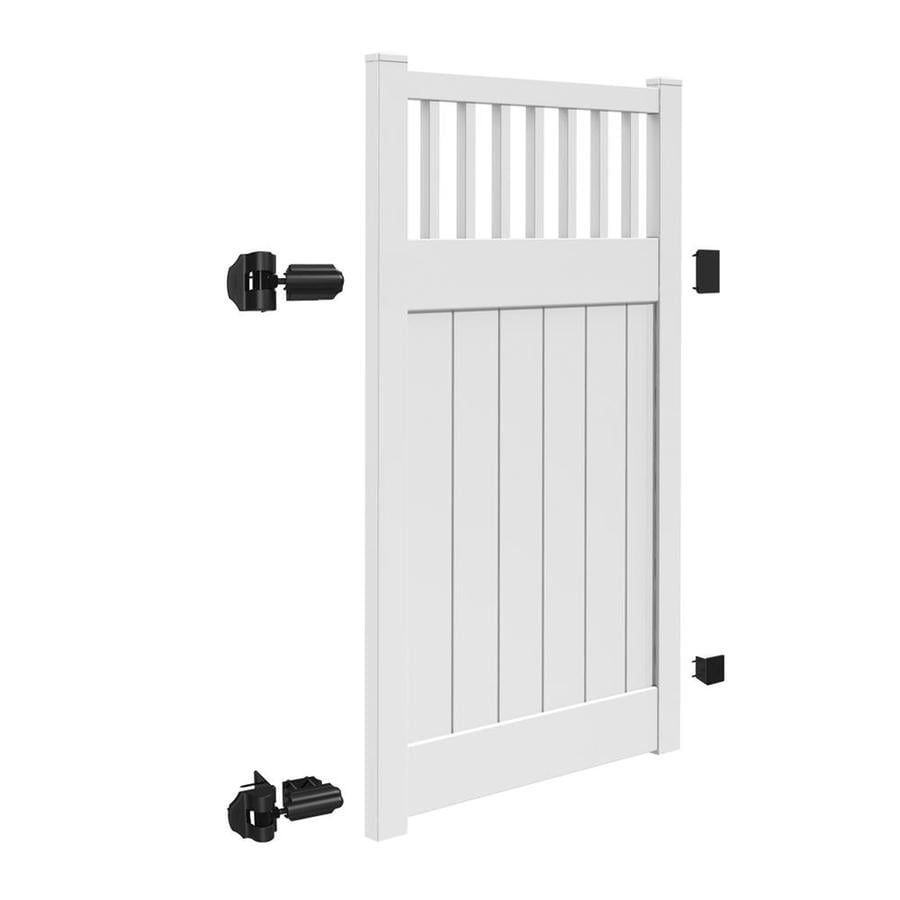 Freedom (Common: 6-ft x 4-ft; Actual: 5.95-ft x 3.83-ft) Chester White Vinyl Semi-Privacy Fence Gate