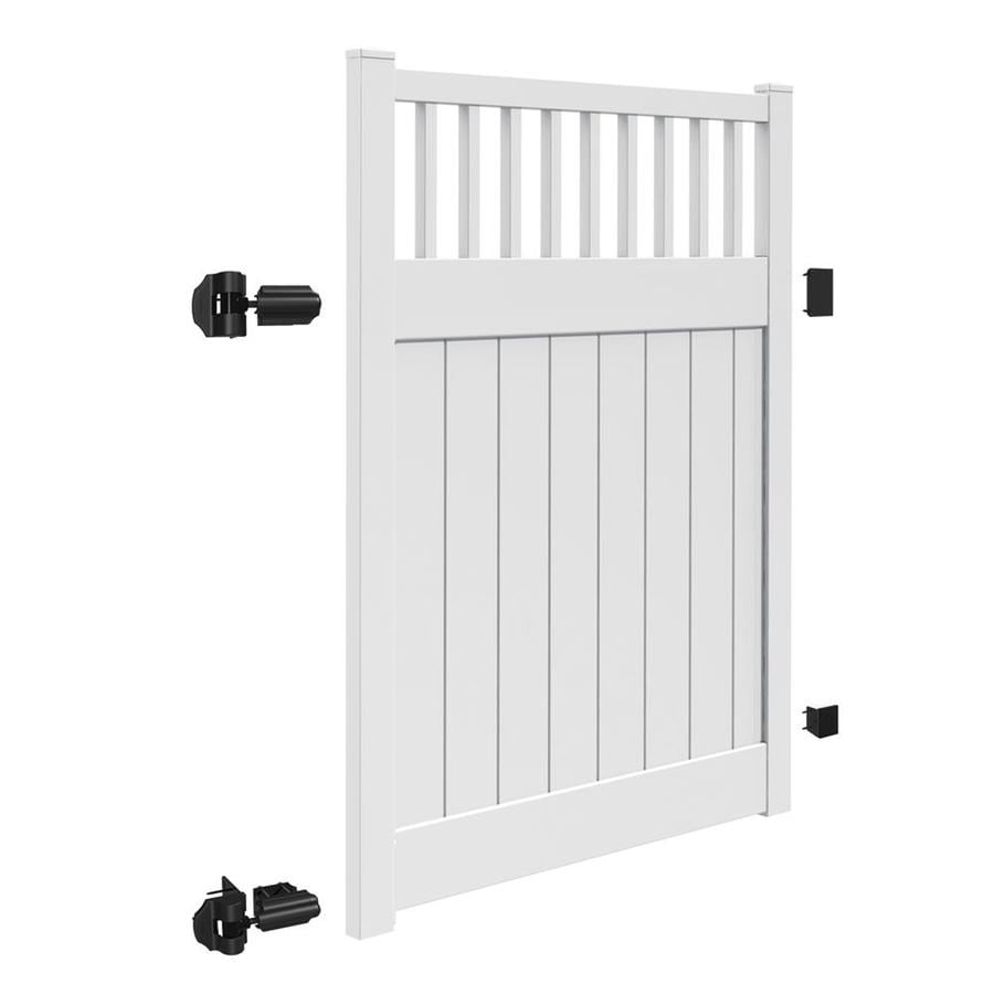 Freedom (Common: 6-ft x 5-ft; Actual: 5.95-ft x 4.83-ft) Chester White Vinyl Semi-Privacy Fence Gate