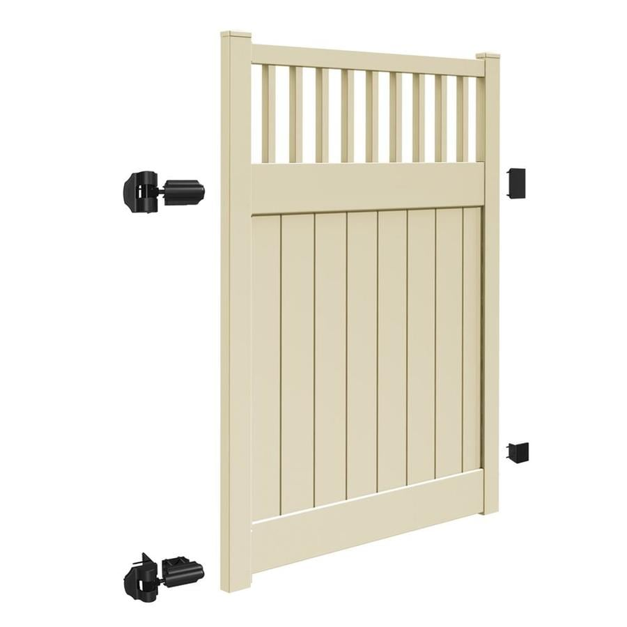 Freedom (Common: 6-ft x 5-ft; Actual: 5.95-ft x 4.83-ft) Chester Sand Vinyl Semi-Privacy Fence Gate