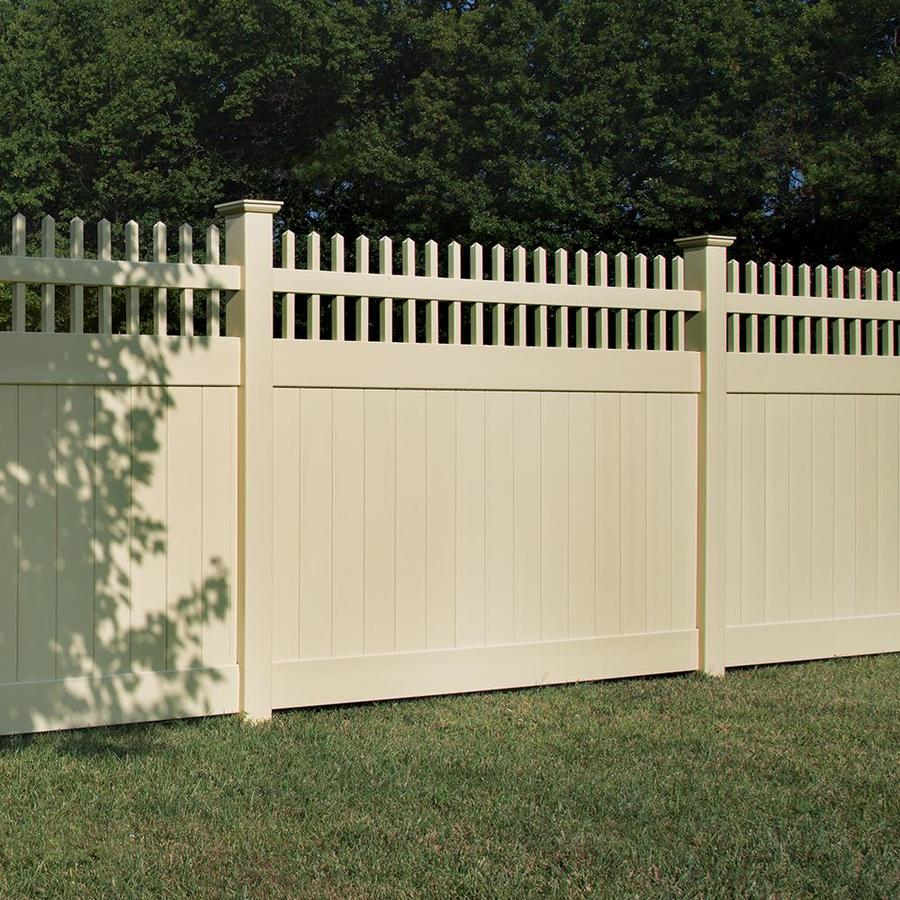 Freedom (Actual: 5.83-ft x 7.84-ft) Ready-to-Assemble Preston Sand Vinyl Semi-privacy Panel
