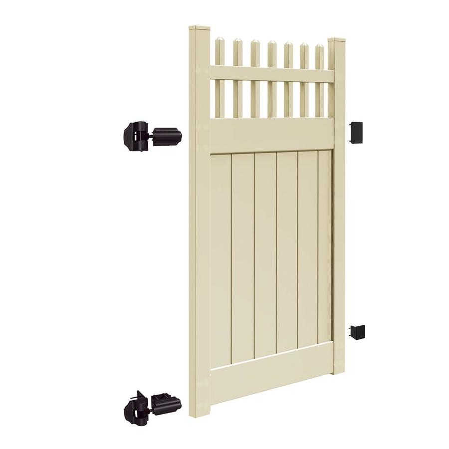 Freedom (Common: 6-ft x 4-ft; Actual: 5.95-ft x 3.83-ft) Preston Sand Vinyl Semi-Privacy Fence Gate