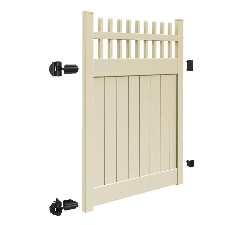 Freedom (Common: 6-ft x 5-ft; Actual: 5.95-ft x 4.83-ft) Preston Sand Vinyl Semi-Privacy Fence Gate