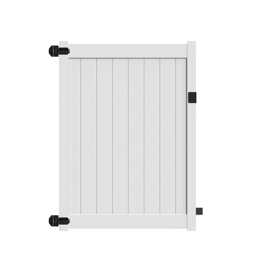 Freedom (Common: 6-ft x 5-ft; Actual: 5.95-ft x 4.83-ft) White Vinyl Privacy Fence Gate