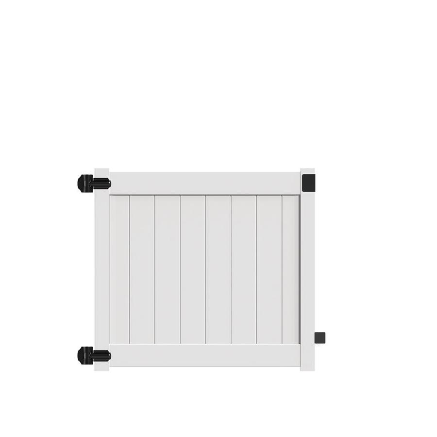 Freedom (Common: 4-ft x 5-ft; Actual: 3.95-ft x 4.83-ft) White Vinyl Privacy Fence Gate