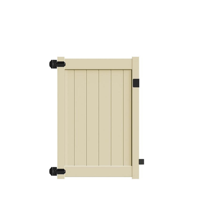 Freedom (Common: 5-ft x 4-ft; Actual: 4.95-ft x 3.83-ft) Sand Vinyl Privacy Fence Gate