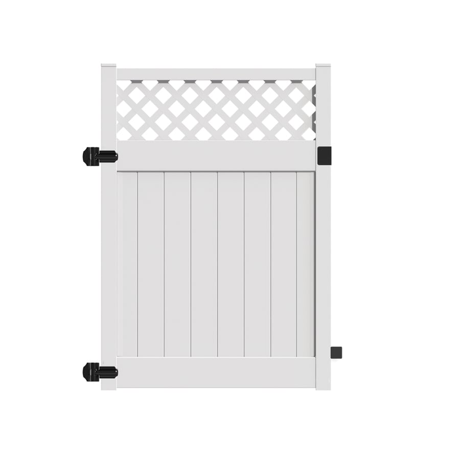 Freedom (Common: 6-ft x 5-ft; Actual: 5.95-ft x 4.83-ft) Conway White Vinyl Semi-privacy Gate