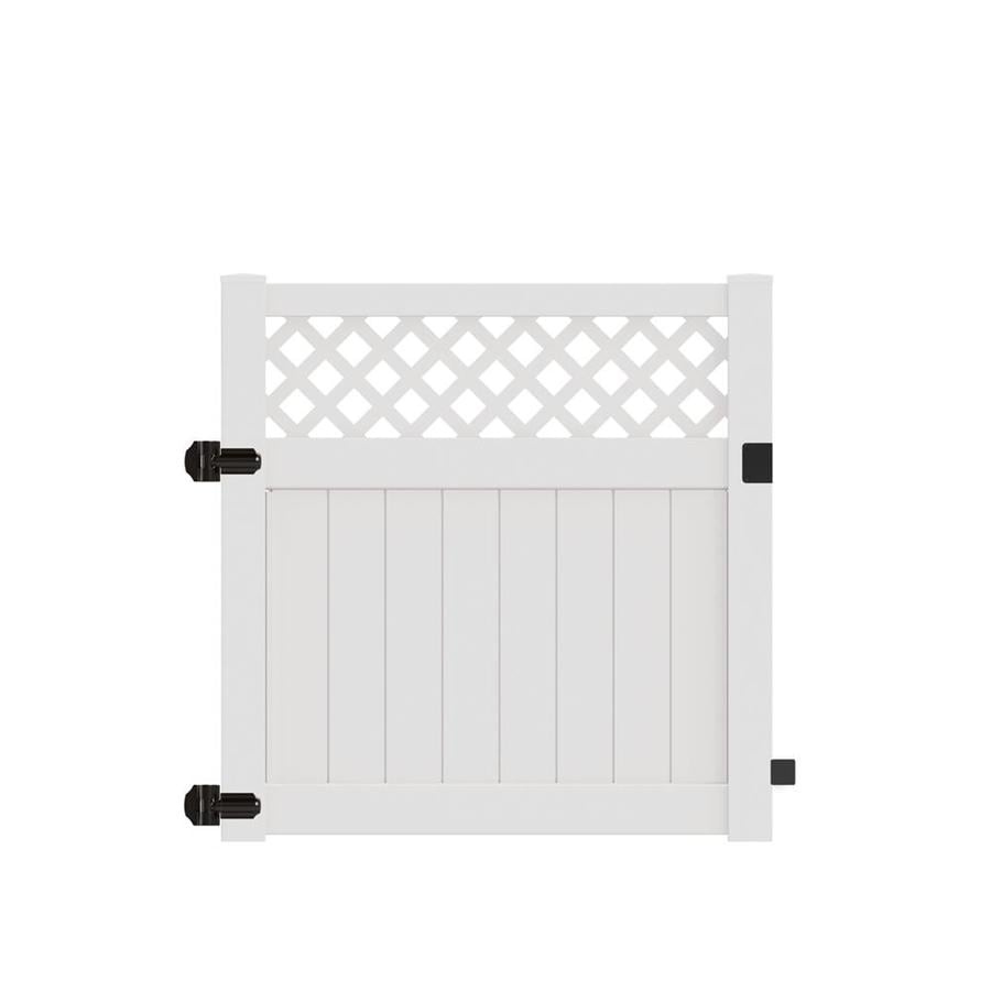 Freedom (Common: 5-ft x 5-ft; Actual: 4.95-ft x 4.83-ft) Conway White Vinyl Semi-Privacy Fence Gate
