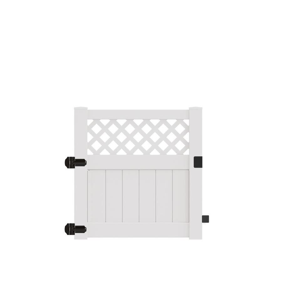 Freedom (Common: 4-ft x 4-ft; Actual: 3.95-ft x 3.83-ft) Conway White Vinyl Semi-privacy Gate