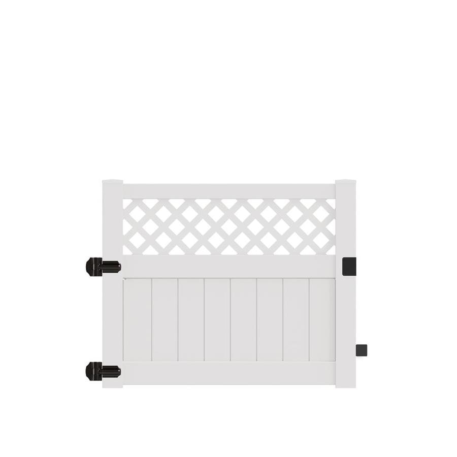 Freedom (Common: 4-ft x 5-ft; Actual: 3.95-ft x 4.83-ft) Conway White Vinyl Semi-Privacy Fence Gate