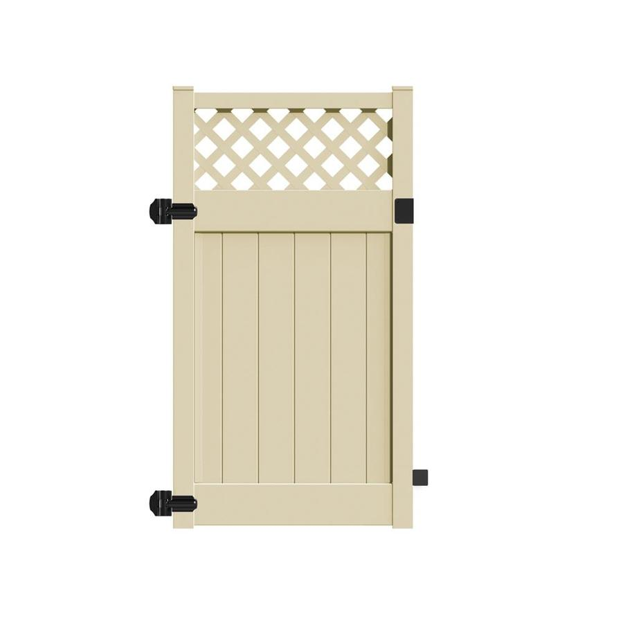 Freedom (Common: 6-ft x 4-ft; Actual: 5.95-ft x 3.83-ft) Conway Sand Vinyl Semi-privacy Gate