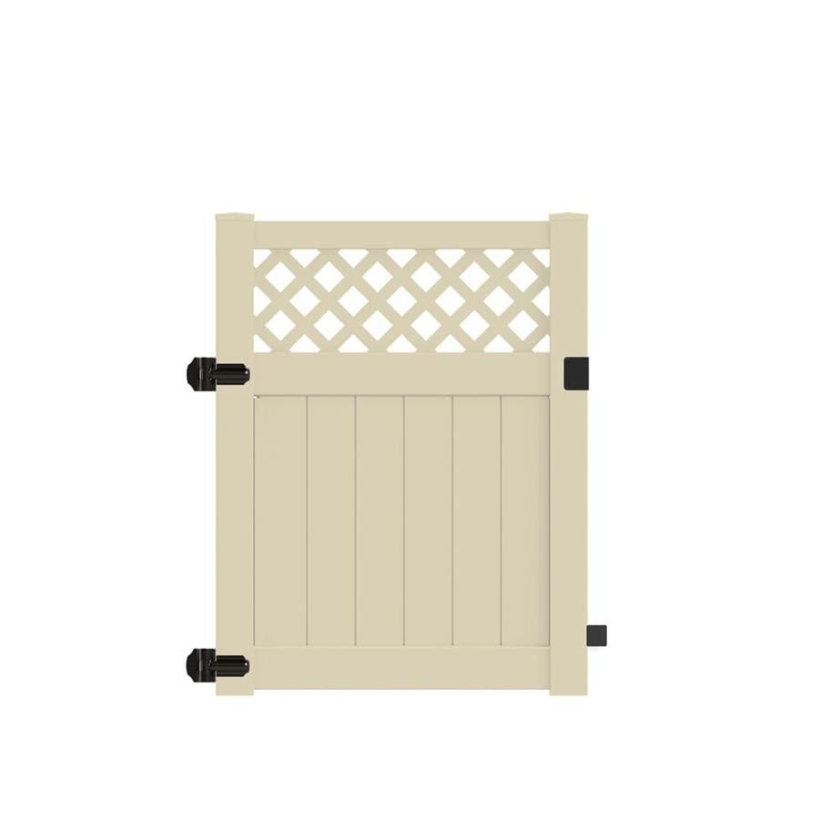 Freedom (Common: 5-ft x 4-ft; Actual: 4.95-ft x 3.83-ft) Conway Sand Vinyl Semi-Privacy Fence Gate