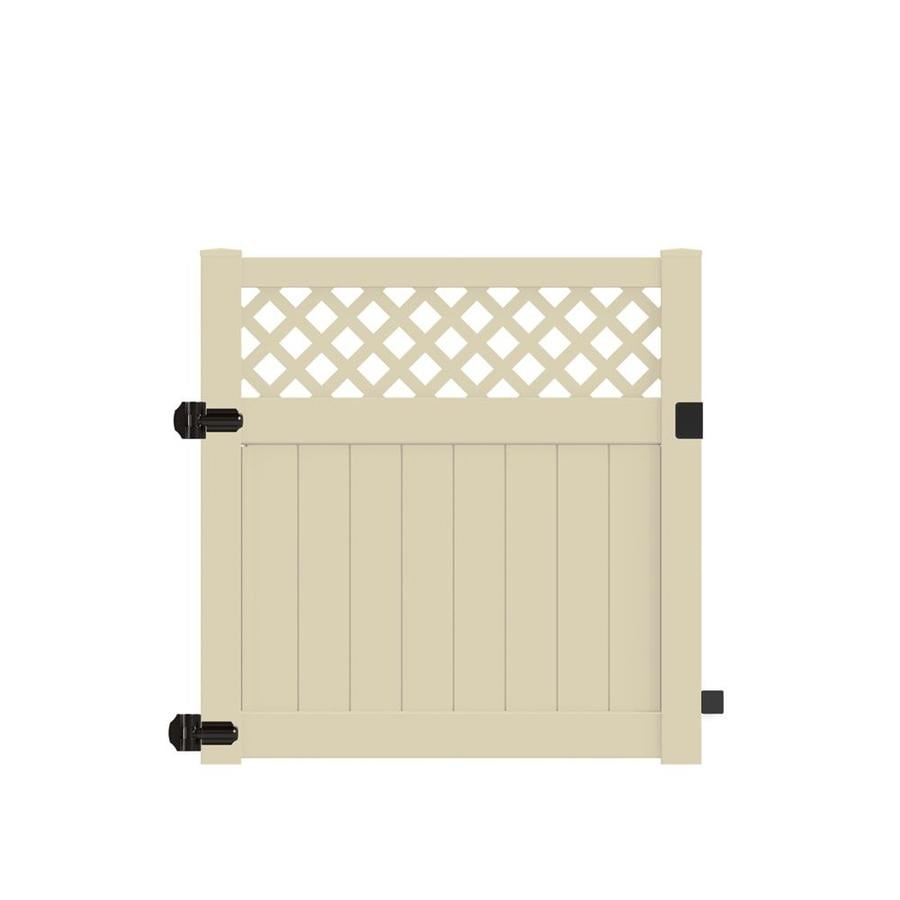Freedom (Common: 5-ft x 5-ft; Actual: 4.95-ft x 4.83-ft) Conway Sand Vinyl Semi-privacy Gate