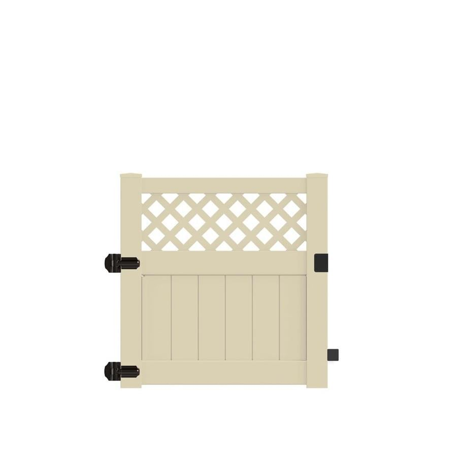 Freedom (Common: 4-ft x 4-ft; Actual: 3.95-ft x 3.83-ft) Conway Sand Vinyl (Not Metal) (Not Wood) Semi-Privacy Vinyl Fence Gate