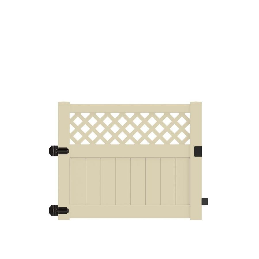 Freedom (Common: 4-ft x 5-ft; Actual: 3.95-ft x 4.83-ft) Conway Sand Vinyl Semi-privacy Gate
