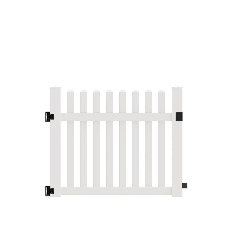 Freedom (Common: 4-ft x 5-ft; Actual: 4-ft x 4.83-ft) Coventry Straight White Vinyl Fence Gate