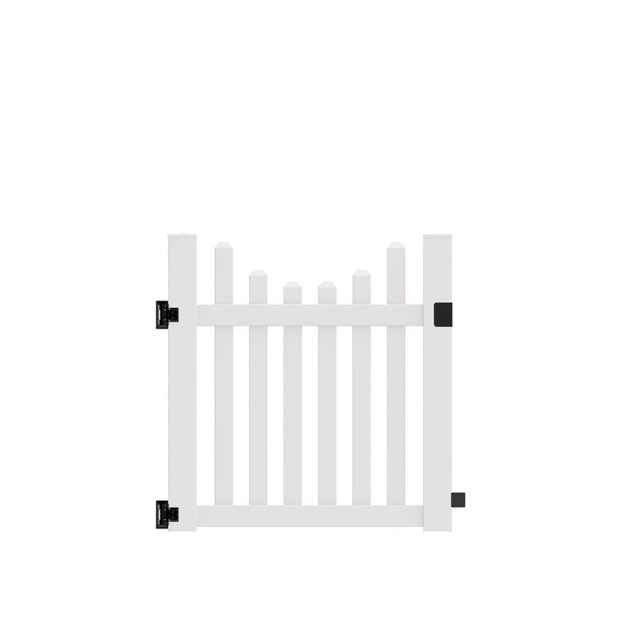 Freedom (Common: 4-ft x 4-ft; Actual: 4-ft x 3.83-ft) Coventry Scallop White Vinyl Fence Gate