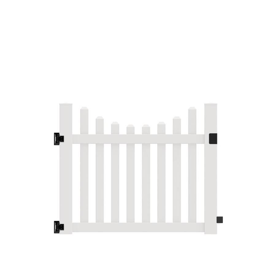 Freedom (Common: 4-ft x 5-ft; Actual: 4-ft x 4.83-ft) Coventry Scallop White Vinyl Gate