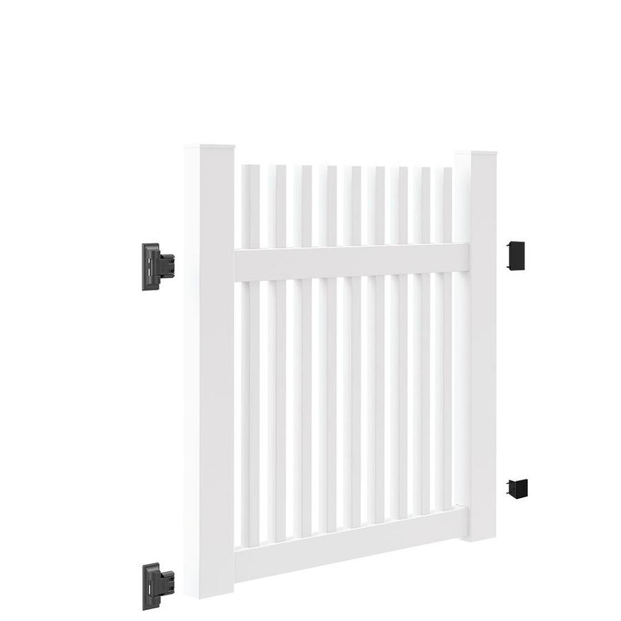 Freedom (Common: 4-ft x 4-ft; Actual: 4-ft x 3.83-ft) Carlisle Straight White Vinyl Gate