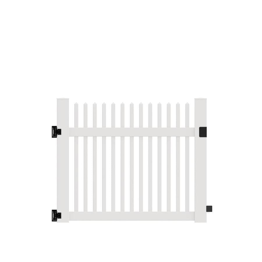 Freedom (Common: 4-ft x 5-ft; Actual: 4-ft x 4.83-ft) Carlisle Straight White Vinyl Gate