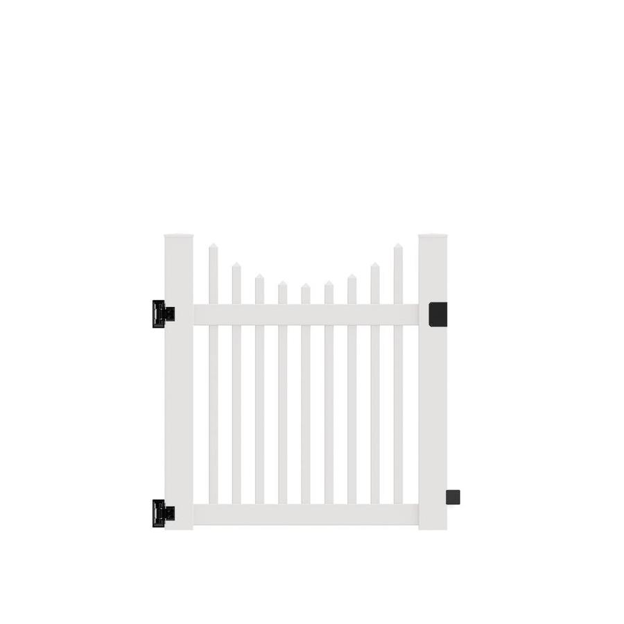 Freedom (Common: 4-ft x 4-ft; Actual: 4-ft x 3.83-ft) Carlisle Scallop White Vinyl Gate