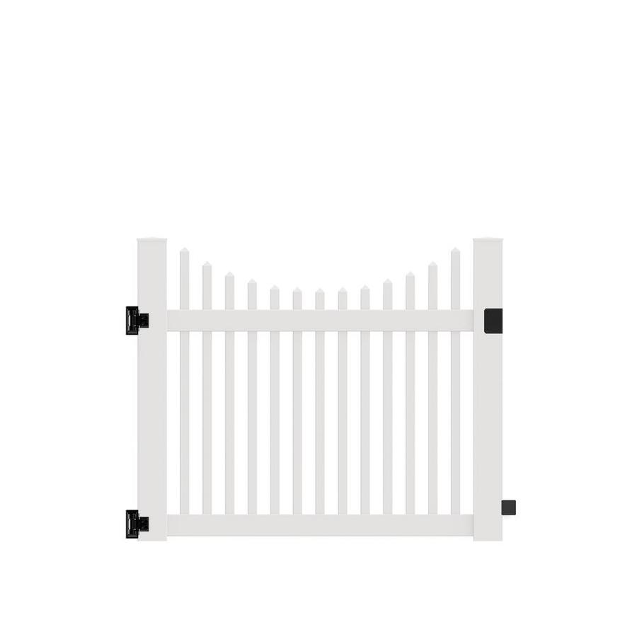Freedom (Common: 4-ft x 5-ft; Actual: 4-ft x 4.83-ft) Carlisle Scallop White Vinyl Gate