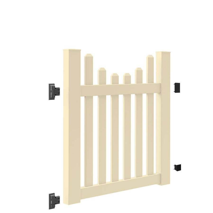 Freedom (Common: 4-ft x 4-ft; Actual: 4-ft x 3.83-ft) Coventry Scallop Sand Vinyl Gate