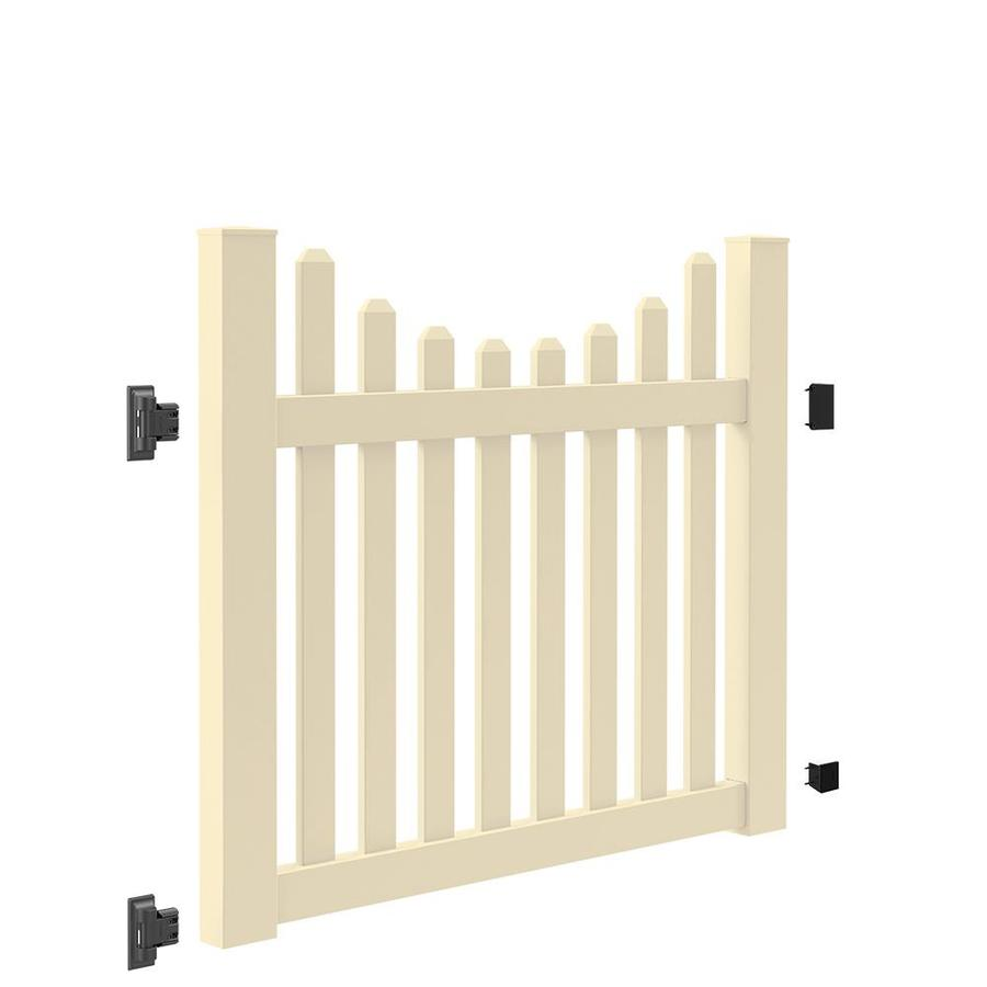 Freedom (Common: 4-ft x 5-ft; Actual: 4-ft x 4.83-ft) Coventry Scallop Sand Vinyl Fence Gate