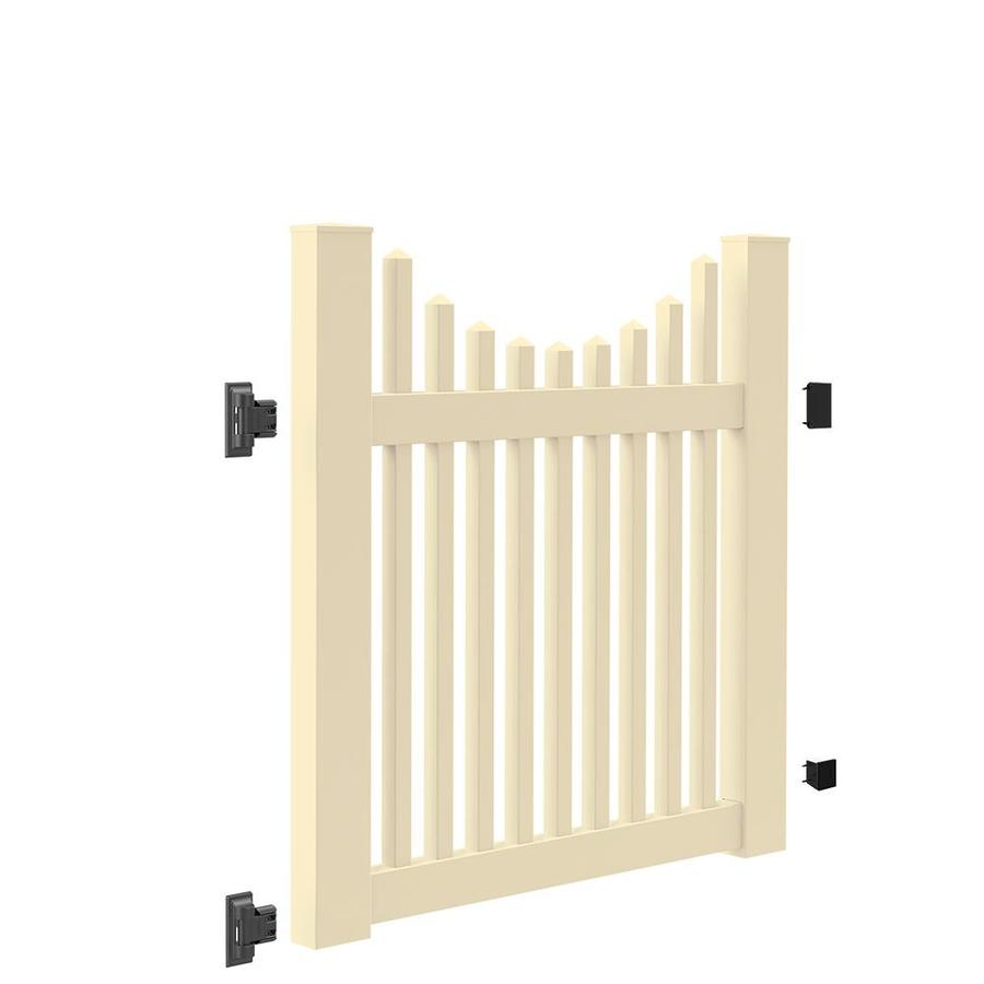 Freedom (Common: 4-ft x 4-ft; Actual: 4-ft x 3.83-ft) Carlisle Scallop Sand Vinyl Gate