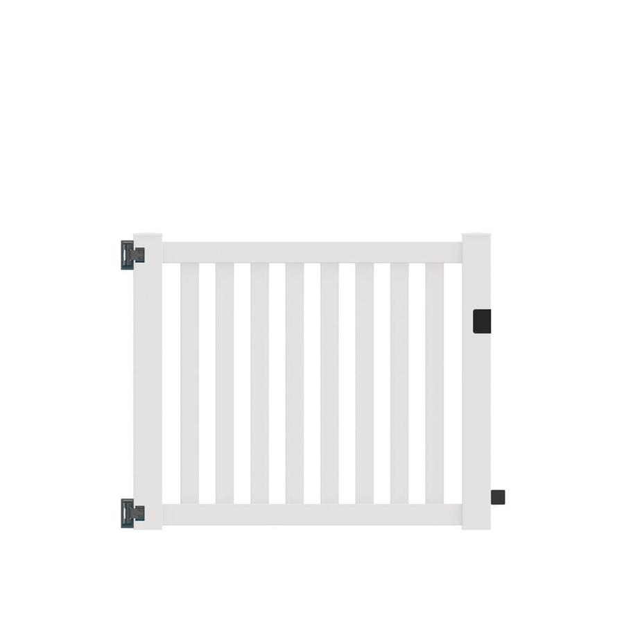 Freedom (Common: 4-ft x 5-ft; Actual: 4-ft x 4.83-ft) Durham White Vinyl Gate