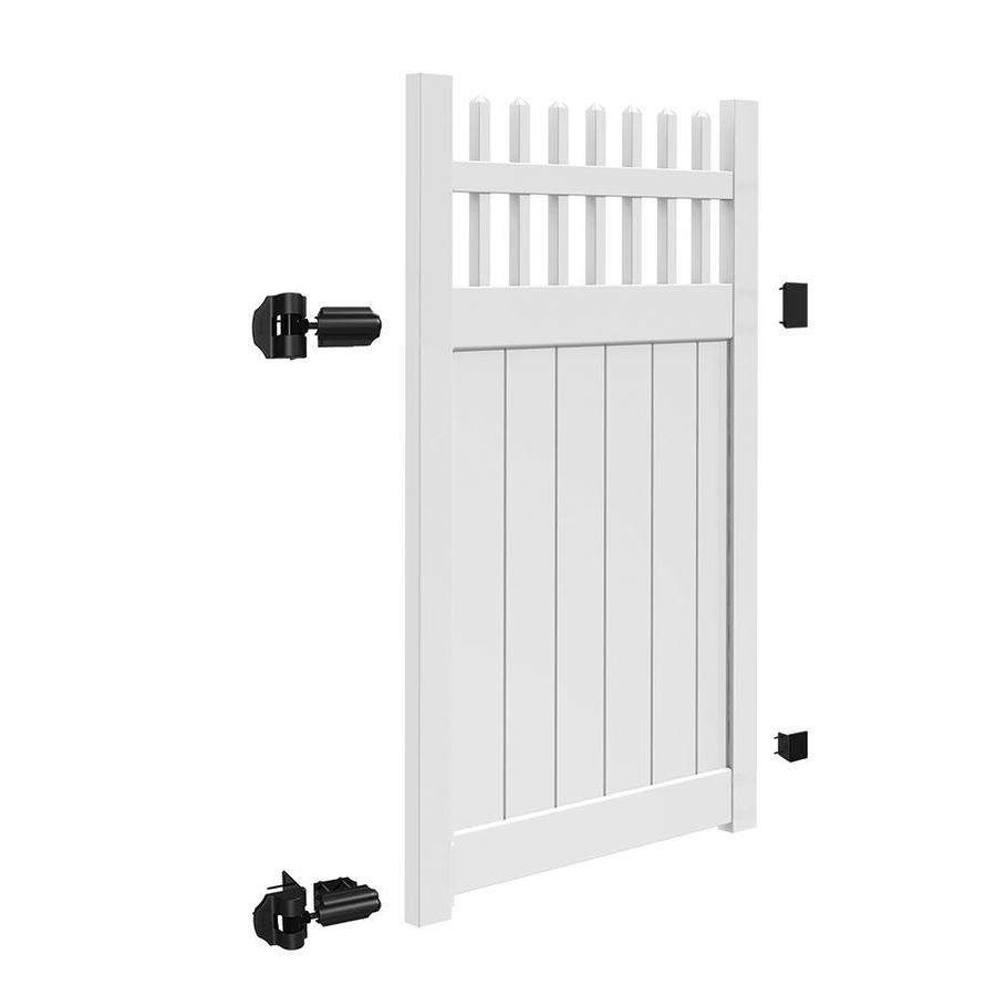 Freedom (Common: 6-ft x 4-ft; Actual: 5.95-ft x 3.83-ft) Manchester White Vinyl Semi-Privacy Fence Gate