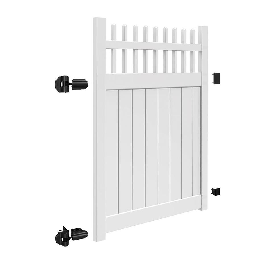 Freedom (Common: 6-ft x 5-ft; Actual: 5.95-ft x 4.83-ft) Manchester White Vinyl Semi-Privacy Fence Gate