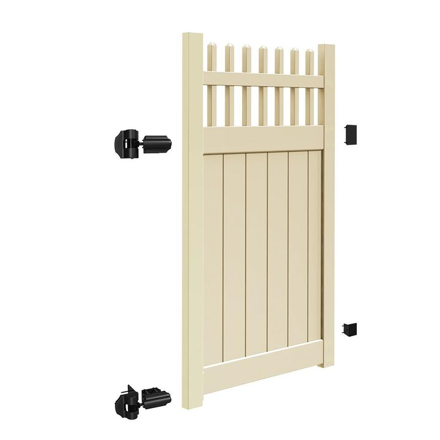 Freedom (Common: 6-ft x 4-ft; Actual: 5.95-ft x 3.83-ft) Manchester Sand Vinyl Semi-privacy Gate
