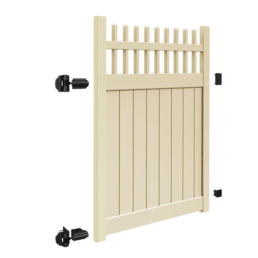 Freedom (Common: 6-ft x 5-ft; Actual: 5.95-ft x 4.83-ft) Manchester Sand Vinyl Semi-privacy Gate